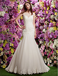Lanting Bride® Trumpet / Mermaid Petite Wedding Dress See-Through Wedding Dresses Court Train Jewel Lace with