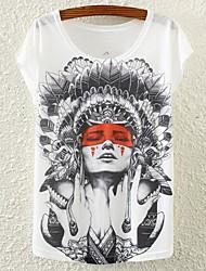 Women's Indian Girl Print Casual Bat Sleeve Stretchy Regular T-shirt (Polyester)