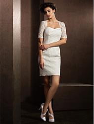 Vestido de Boda - Marfil Corte Columna Corto/Mini - Reina Ana Encaje