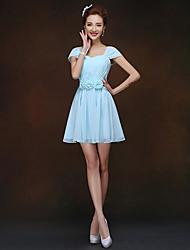 Short/Mini Bridesmaid Dress - Sky Blue Sheath/Column Queen Anne