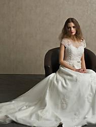 A-line Sweep / Brush Train Wedding Dress -Bateau Lace