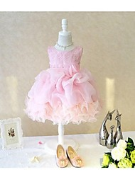 Princess/Ball Gown Tea-length Flower Girl Dress - Satin/Tulle Sleeveless