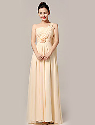 Floor-length Nylon Taffeta Bridesmaid Dress - A-line One Shoulder with Flower(s) / Criss Cross