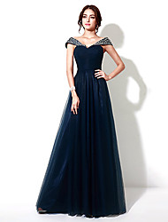 Formal Evening Dress - Dark Navy Plus Sizes / Petite A-line Floor-length