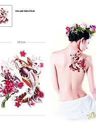 1Pc Waterproof Multicolored Large Flowers and Fish Pattern Tattoo Stickers