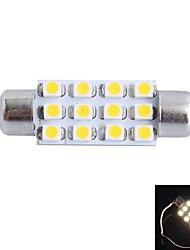 GC® 39mm 3W 150lm 3000K 12x3528smd varmvit ledde till bil läsning / registreringsskylt / dörr ljus lampa (12V)