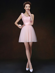 A-line/Princess One Shoulder Short/Mini Bridesmaid Dress(068)