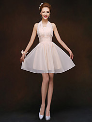 Short/Mini Bridesmaid Dress - Champagne Sheath/Column Halter