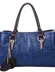 New POLO Women's Genuine Leather Crocodile Pattern Bag(Royal Blue,Cream,Brown)