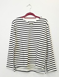 Women's Semi Open Collar Long Sleeve Striped Loose Casual T-Shirts