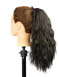 18 Inch Wave Black Clip In Ribbon Ponytail Heat Resistant Fiber Synthetic
