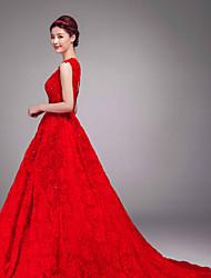 Vestido de Boda - Rojo (el Color y Estilo pueden variar según su monitor) Corte en A Capilla - Joya Encaje