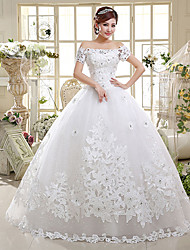 Ball Gown Wedding Dress - White Floor-length Off-the-shoulder Satin / Tulle