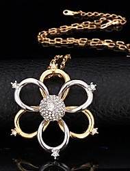 U7® Two Tone Gold Flowers Pendant Necklace 18K Real Gold Platinum Plated Rhinestone Necklace Fashion Jewelry