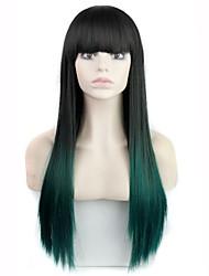 30 polegadas de fibra resistente ao calor longo moda reta ombre sintética peruca com estrondo completa