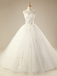 Ball Gown Wedding Dress - White Cathedral Train Sweetheart Organza