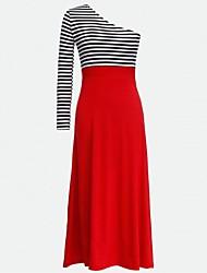 Women's Stripe Patchwork One Shoulder Slim Dress