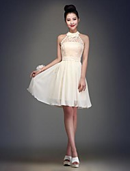 Knee-length Chiffon Bridesmaid Dress - Champagne Ball Gown Halter