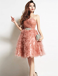 Homecoming Cocktail Party Dress Strapless Knee-length Tulle