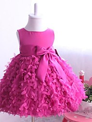 Ball Gown Princess Knee-length Flower Girl Dress - Satin Tulle Jewel with Bow(s) Sash / Ribbon Pleats