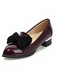sapatos femininos bombas dedo apontado couro envernizado salto robusto sapatos mais cores disponíveis