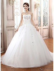 Ball Gown Strapless Court Train Tulle Wedding Dress with Beading Appliques Criss-Cross by JUEXIU Bridal