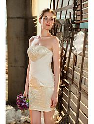 Short/Mini Short / Mini Wedding Dress - Strapless Satin
