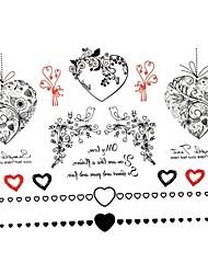 2 stk Yimei tatovering klistermærker vandtæt dyr serien kvinder / pige / mænd / voksen / dreng / teenager sorte blomster mønster 17cm * 16cm