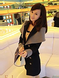Women's Long Sleeve Polyester Trench Coat , Casual