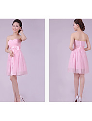 Short/Mini Bridesmaid Dress - Blushing Pink A-line / Princess Sweetheart