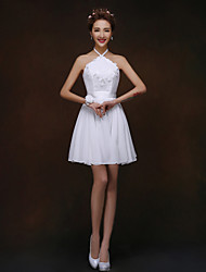 Short/Mini Bridesmaid Dress - White A-line / Princess Halter