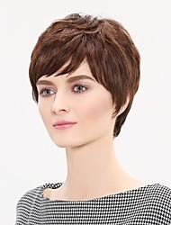 Brown Human Hair Short Hair Wig with Side Bang Popularly Temperament