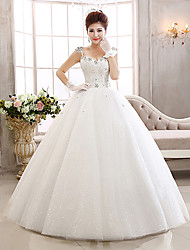 Ball Gown Wedding Dress Floor-length Straps Lace / Tulle with