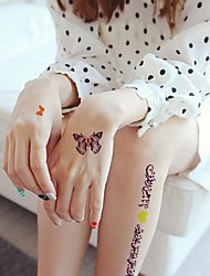 1Pc Waterproof Multicolored Arab Fluorescent Yellow Numbered Series Butterfly Purple Heart-Shaped   Tattoo Sticker