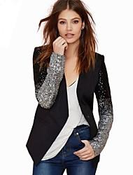 Women's Long Sleeve Blazer , Sequin/Cotton Blends Regular Casual