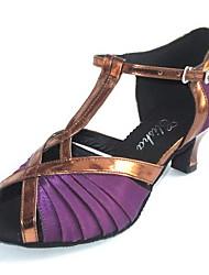 Customized Women's Satin Upper Ballroom Salsa Latin Dance Shoe