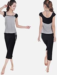 Damen Yoga Anzüge Ärmellos Rasche Trocknung / antistatisch / wicking / Antibakteriell Schwarz / Hellpurpur Yoga S / M / L / XL