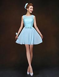 Short/Mini Bridesmaid Dress - Sky Blue Sheath/Column Jewel