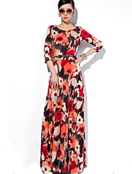 Women's Beach Swing Dress,Floral Round Neck Maxi ¾ Sleeve Multi-color Polyester All Seasons