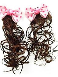 Girl's Dot Bow Princess Wig Hair Clip(Random Color)