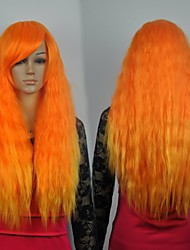 Women's Fashionable Orange Long  Cosplay Party Wigs with Side Bang