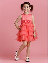 A-line Jewel Knee-length Polyester Flower Girl Dress