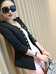 Women's Pink/White/Black/Green/Orange/Yellow Blazer , Work Long Sleeve