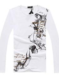 Informeel Lange Mouw - MEN - Katoen - T-shirts - Zwart/Groen/Wit/Grijs