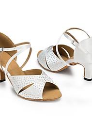 Latin Women's Sandals Stiletto Heel Satin Rhinestone Dance Shoes(More Colors)