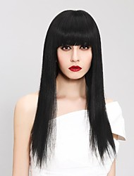 Popularly Graceful Natural Black Long Straight Human Hair with Full Bang Hair Wigs
