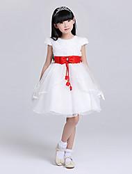 A-line Knee-length Flower Girl Dress - Lace Short Sleeve