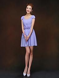 Short/Mini Bridesmaid Dress - Lavender Sheath/Column Queen Anne