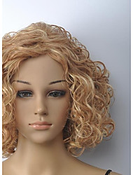 Women's Blonde Medium Curly Wig with Full Bang
