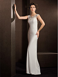 LAN TING BRIDE Sheath / Column Wedding Dress See-Through Floor-length Jewel Stretch Satin with Beading Lace